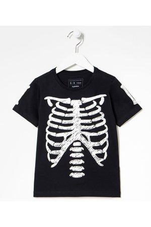 Fuzarka Camiseta Infantil Estampa Esqueleto Brilha no Escuro - Tam 5 a 14 Anos | | | 5-6
