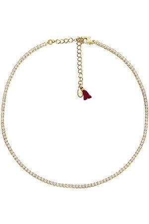 Shashi Diamond Tennis Necklace in Metallic .