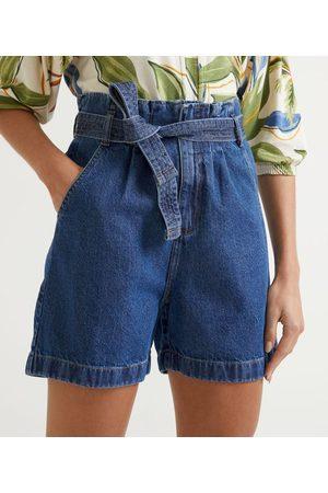 Marfinno Mulher Short - Short Clochard Jeans com Elástico no Cós e Cinto Faixa       44