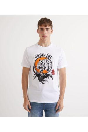 Blue Steel Camiseta Manga Curta com Estampa Tigre e Escorpião Tattoo | | | G