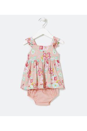 Teddy Boom (0 a 18 meses) Vestido Infantil Estampa Floral com Mangas Babado Com Calcinha - Tam 0 a 18 meses | | | 9-12M