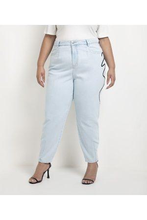 Ashua Curve e Plus Size Calça Baggy Jeans com Bordado Lateral Curve & Plus Size | | | 46