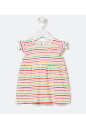 Teddy Boom (0 a 18 meses) Criança Vestido Estampado - Vestido Infantil Listrado com Frufru na Manga e Com Calcinha - Tam 0 a 18 meses     Multicores   0-3M