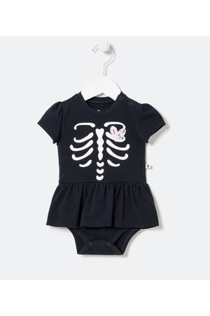 Teddy Boom (0 a 18 meses) Criança Vestido Estampado - Vestido Body Infantil Estampa de Esqueleto - Tam 0 a 18 meses       3-6M