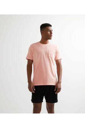 Marfinno Homem Camisolas de Manga Curta - Camiseta Manga Curta em Algodão Lavada com Bolso       P