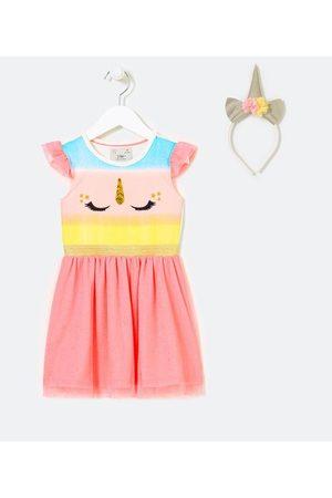 Póim (1 a 5 anos) Vestido Infantil Fantasia com Estampa de Unicórnio Acompanha Tiara - Tam 1 a 5 Anos       04