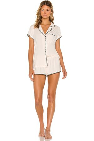 Eberjey Frida The Whip Stitch Short PJ Set in Ivory. - size S (also in L, M, XS)