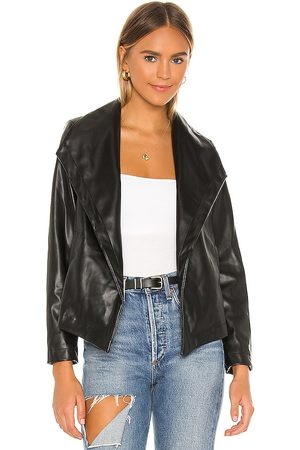 Chaser Matte Vegan Leather Drape Front Jacket in . - size L (also in M, S, XS)