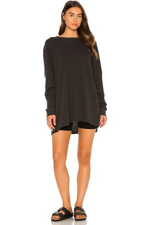 Free People Early Night Thermal Tee in Black. - size L (also in M, S, XS)