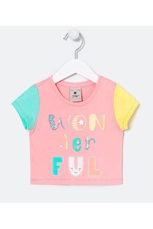 Póim (1 a 5 anos) Criança Blusa - Blusa Infantil Cropped cm Estampa em Lettering e Mangas Colorblock - Tam 1 a 5 anos | | | 05