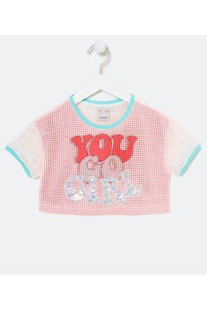 "Fuzarka (5 a 14 anos) Menina Blusa - Blusa Infantil Neon com Tela e Lettering ""You Go Girl"" - Tam 5 a 14 Anos       5-6"