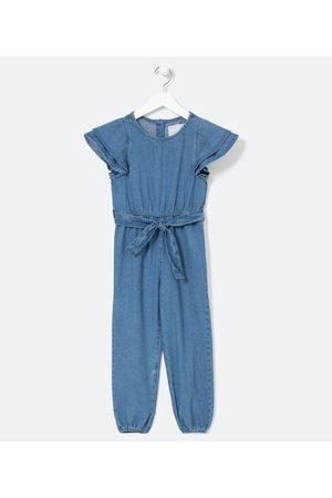 Fuzarka Macacão Infantil Longo em Jeans com Faixa na Cintura - Tam 5 a 14 anos | | | 9-10