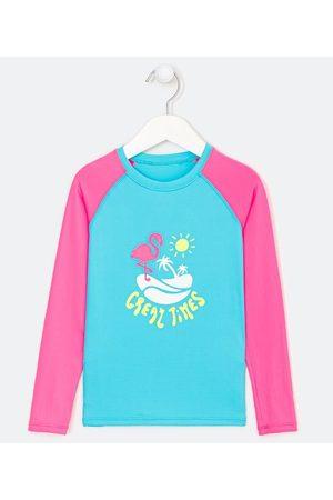 Cubus Criança Blusa - Blusa Infantil Proteção UV Estampa de Flamingo - Tam 1 a 14 anos     Multicores   7-8