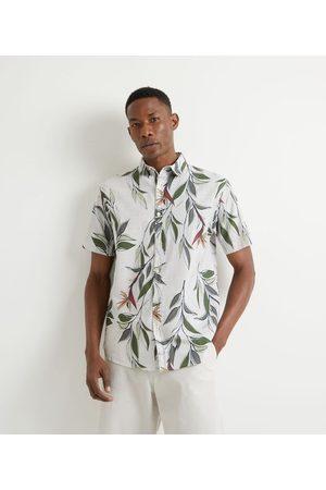 Marfinno Homem Camisa Manga Curta - Camisa Manga Curta em Voal Estampa Folhagens | | | GG