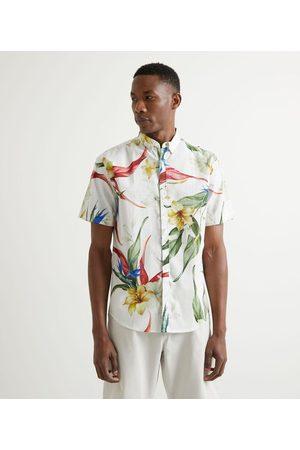 Marfinno Camisa Manga Curta em Linho Estampa Folhagens Coloridas | | | P