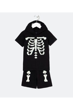 Póim (1 a 5 anos) Conjunto Infantil Fantasia de Esqueleto Brilha no Escuro - Tam 1 a 5 anos       01