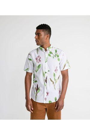 Marfinno Homem Camisa Manga Curta - Camisa em Linho com Estampa Botânica | | | P