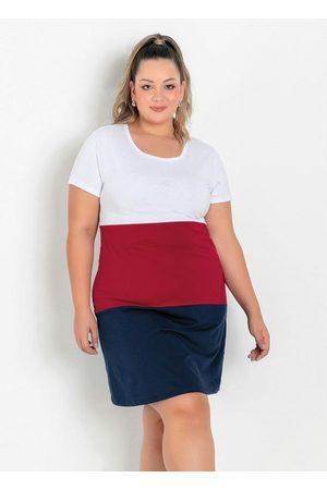 Marguerite Vestido Tricolor com Recortes Plus Size