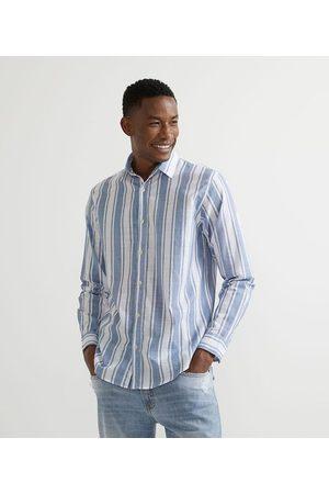 Marfinno Homem Camisa Manga Comprida - Camisa Manga Longa Listrada em Voal | | Multicores | M