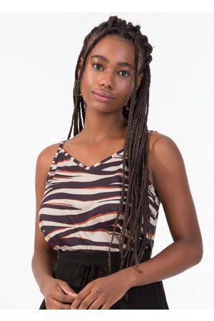 Rovitex Blusa de Alça Feminina Zebra