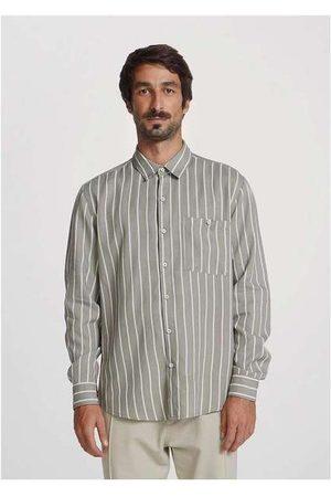 Hering Homem Camisa Casual - Camisa Masculina Listrada em Linho