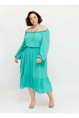 Pianeta Vestido Midi Almaria Plus Size Ombro a Omb