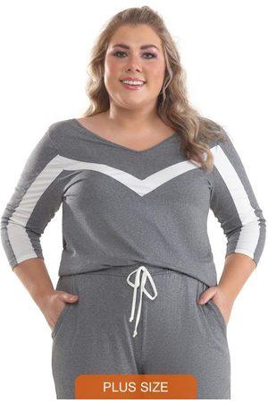 Lepoque Blusa Plus Size com Recorte Mescla Escuro