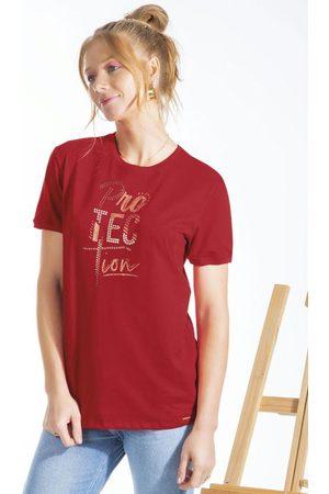 Cativa Mulher Camiseta - T-Shirt Estampada com Bordado