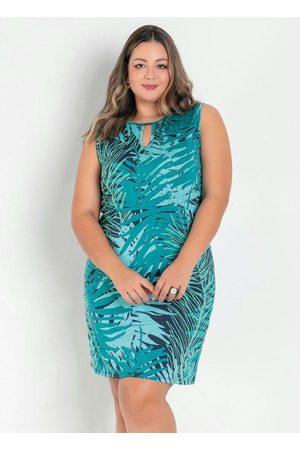 Marguerite Vestido Folhagem com Gota no Decote Plus Size