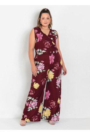 Marguerite Macacão Floral Bordô com Transpasse Plus Size