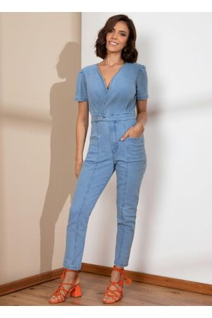 QUINTESS Mulher Macacão - Macacão Jeans Decote Transpasado com Bolsos