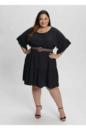 Mink Mulher Vestido Médio - Vestido Plus Size com Babados