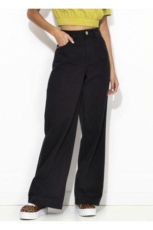 Colcci Mulher Calça de Alfataria - Calça Sarja Pantalona Preta