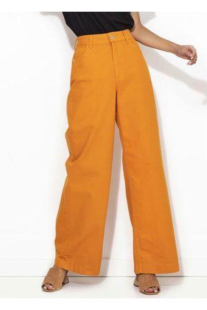 Colcci Mulher Calça de Alfataria - Calça Sarja Pantalona