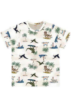 Trick Nick Menino Camisolas de Manga Curta - Camiseta Estampada Dinossauro