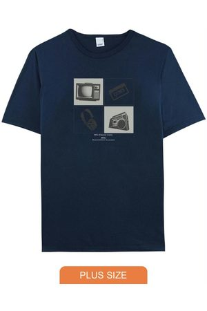 Malwee Plus Homem Camisolas de Manga Curta - Camiseta Marinho Tradicional 90'S Classic