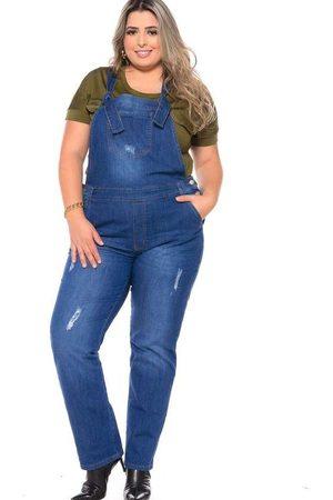 Fact Jeans Jardineira Reta Almaria Plus Size