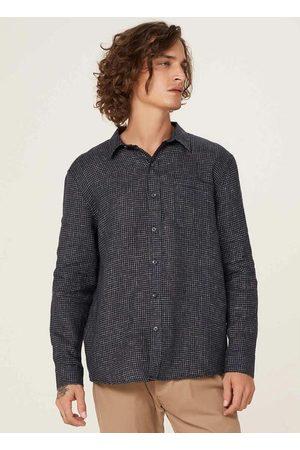 Hering Homem Camisa Casual - Camisa Masculina em Tecido de Linho com Bolsos Lis