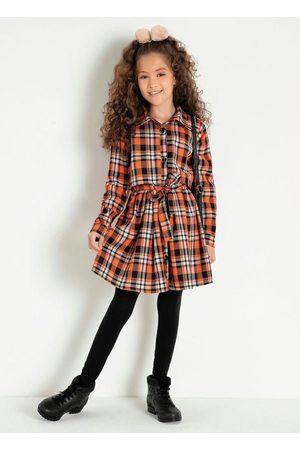 Kolormagic Menina Vestidos - Vestido Infantil com Gola e Botões Xadrez