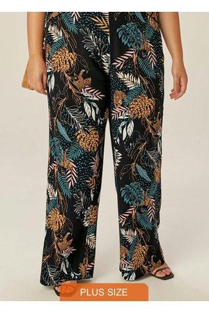 Malwee Plus Calça Preto Tropical Pantalona em Viscose