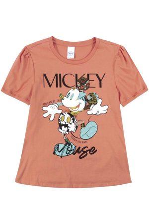 Disney Mulher Blusas de Manga Curta - Blusa em Meia Malha com Estampa