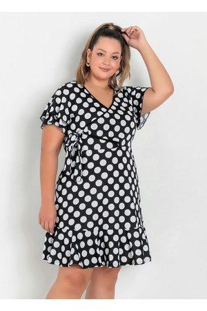 Marguerite Mulher Vestidos - Vestido Poá com Babado Plus Size