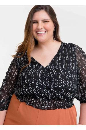 Tal Qual Blusa Cropped Almaria Plus Size Estampada
