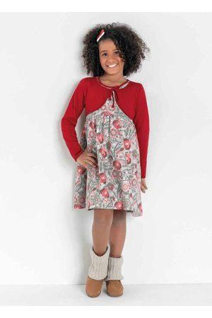 Kolormagic Vestido Infantil Floral com Bolero Fixo