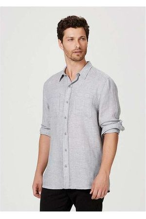 Hering Homem Camisa Casual - Camisa Masculina em Tecido de Linho com Bolsos Cin