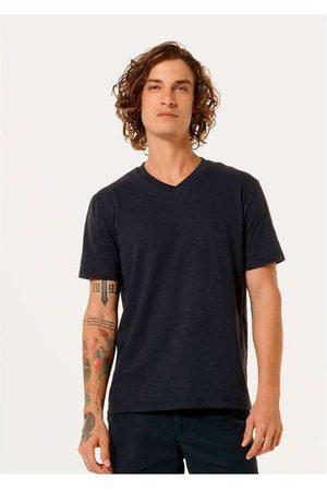 Hering Homem Camisolas de Manga Curta - Camiseta Básica Masculina Flamê com Decote V