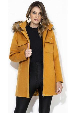 Colcci Mulher Trench Coat - Casaco com Capuz de Lã Batida