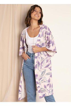 QUINTESS Mulher Quimono - Kimono Folhas Roxas com Fendas Laterais