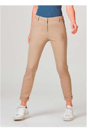 Hering Mulher Calça de Alfataria - Calça Básica Feminina Chino com Elastano Nude