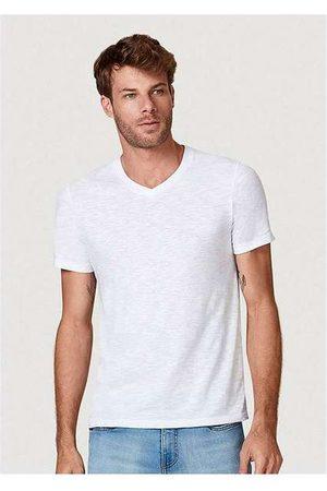 Hering Camiseta Básica Masculina Flamê com Decote V Branc